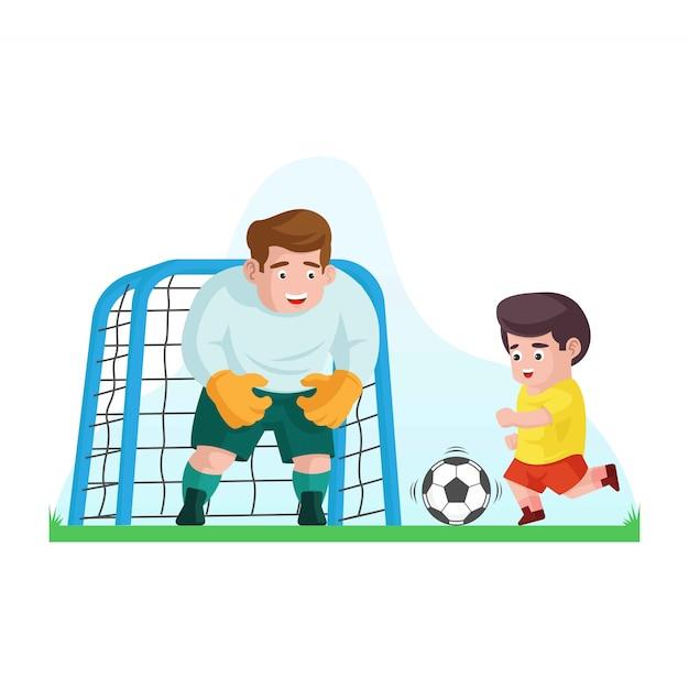 Père Jouant Au Football Avec Son Fils. Vecteur Premium