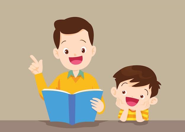 Père Avec Livre De Lecture De Fils Vecteur Premium