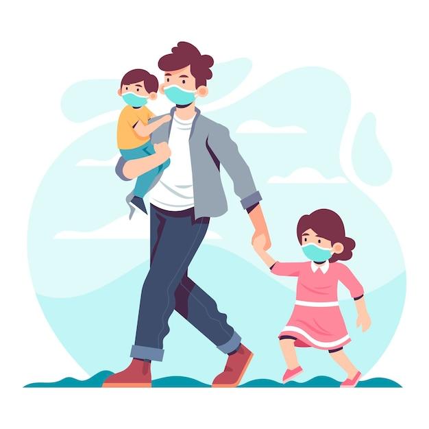 Père Marchant Avec Des Enfants Portant Un Masque De Protection Vecteur gratuit