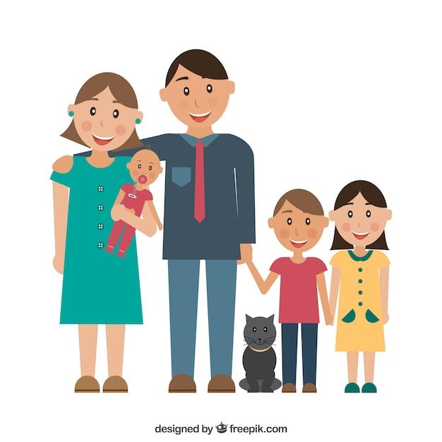 Père, mère et les enfants Vecteur gratuit