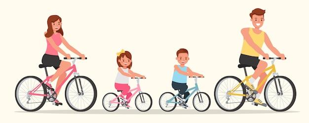 Père, Mère, Fille Et Fils Font Du Vélo. Vecteur Premium