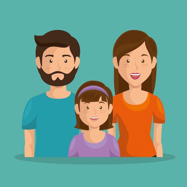 Père et mère avec fille Vecteur gratuit