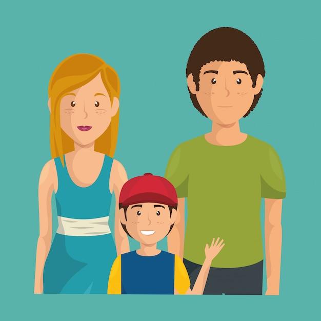Père et mère avec fils Vecteur gratuit