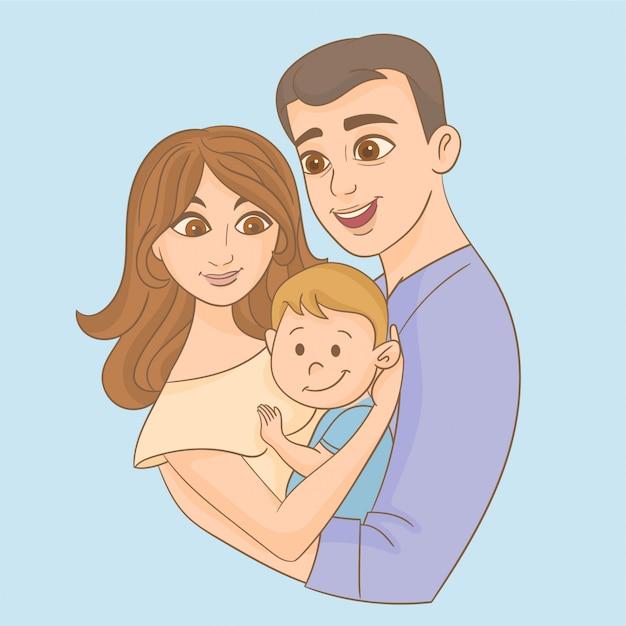 Père et mère tenant son fils dans les bras Vecteur Premium