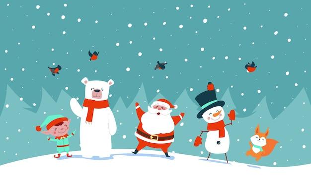 Père Noël Avec Des Animaux De La Forêt Agitent Ses Mains Vecteur Premium