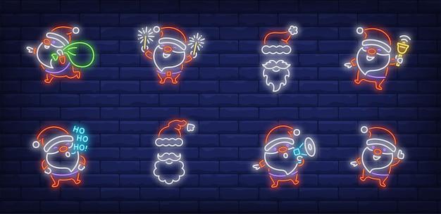 Père Noël Ayant Des Symboles Amusants Dans Un Style Néon Vecteur gratuit