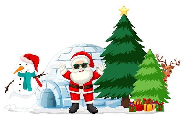 Père Noël Avec Bonhomme De Neige Et élément De Noël Sur Fond Blanc Vecteur gratuit