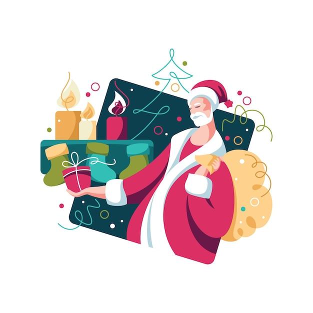 Père Noël Avec Des Cadeaux Et Arbre De Noël. Célébration Du Nouvel An. Lumineux Coloré Vecteur Premium