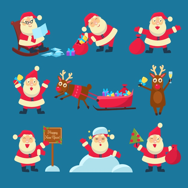 Père Noël, Cerf. Noël Et Nouvel An Vecteur Premium