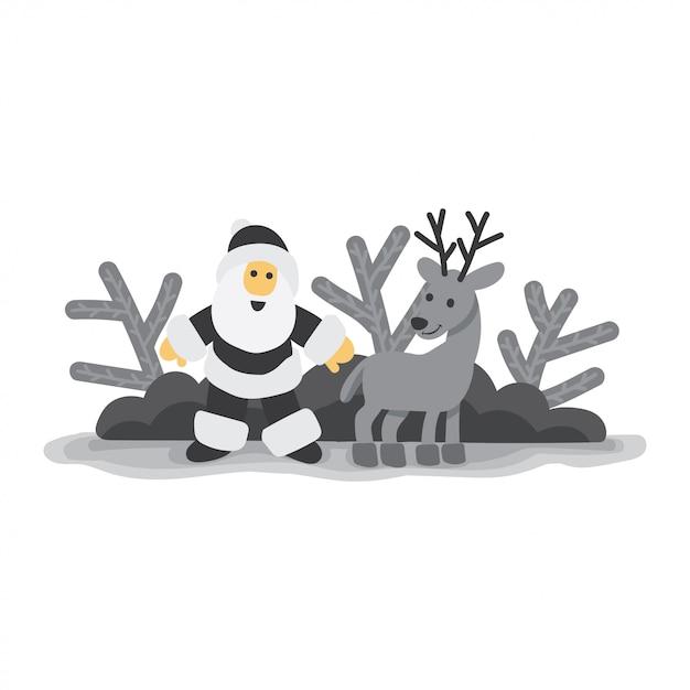 Père Noël Avec Le Cerf Noir Et Blanc Télécharger Des