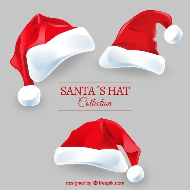 Père Noël chapeaux paquet Vecteur gratuit
