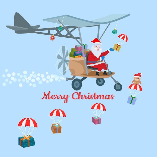 Père Noël Dans L'avion Avec Conception De Carte De Noël Boîte