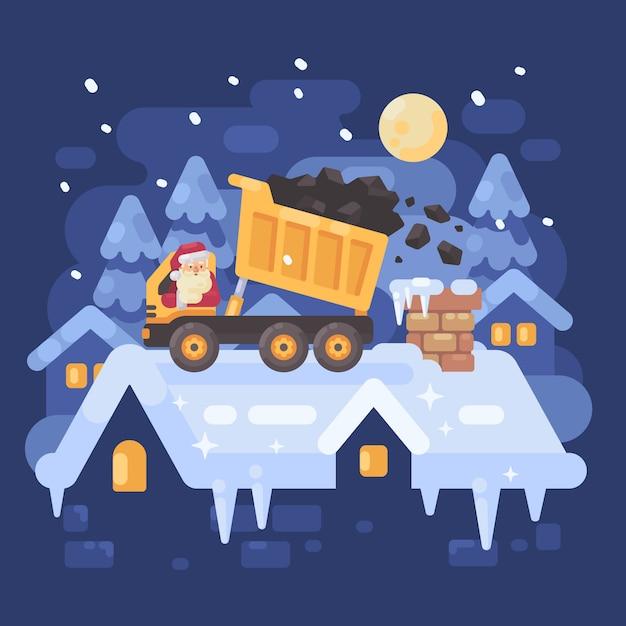 Père noël dans un camion jaune sur un toit Vecteur Premium