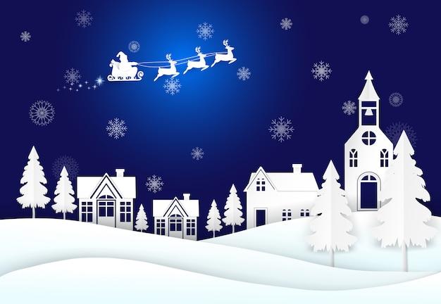 Père noël dans le ciel nocturne et flocon de neige saison d'hiver Vecteur Premium