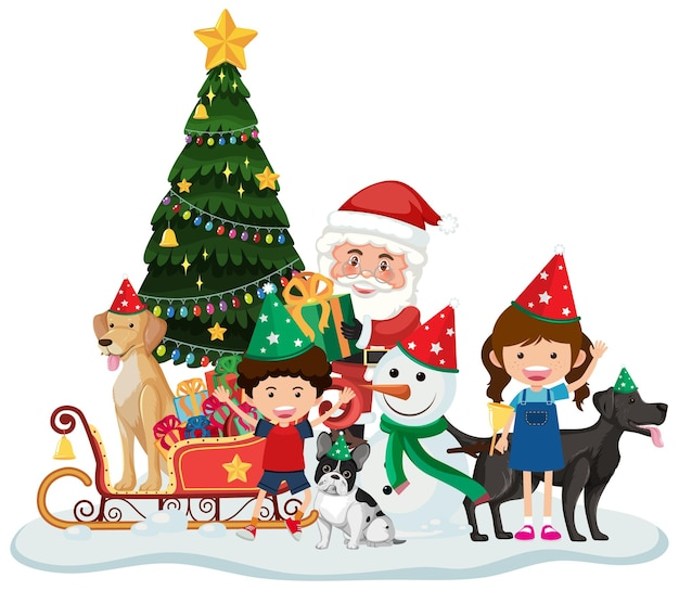 Père Noël Et Enfants Célébrant Noël Isolés Vecteur Premium