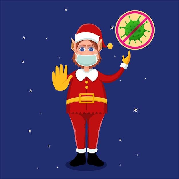 Le Père Noël Exhorte à Continuer D'utiliser Des Protocoles De Santé (masques) Lors De La Fête De Noël Pour éviter Le Virus Covid-19 Vecteur Premium