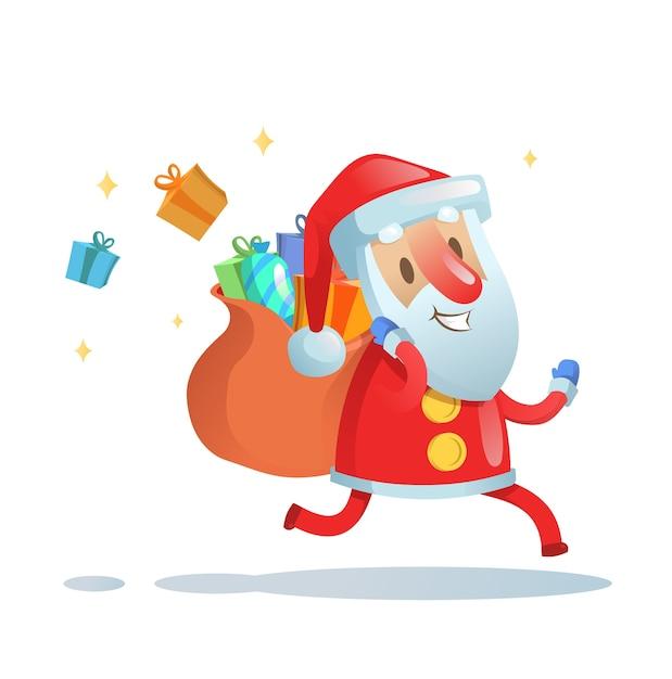 Père Noël En Fuite Pour Livrer Des Cadeaux De Noël. Illustration Plate Colorée. Vecteur Premium