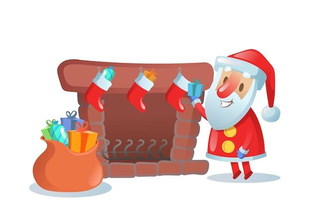 Père Noël Avec Grand Sac De Cadeaux Près De La Cheminée Avec Des Bas De Noël. Illustration Plate Colorée. Isolé Sur Fond Blanc. Vecteur Premium