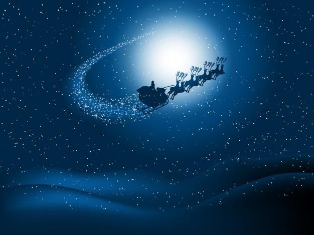 Père noël sur luge ciel étoilé fond Vecteur gratuit