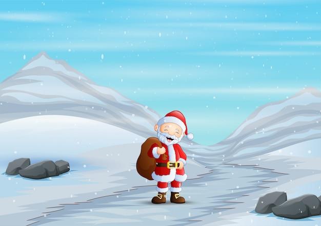 Père Noël Marchant Sur Une Route Enneigée En Hiver Vecteur Premium