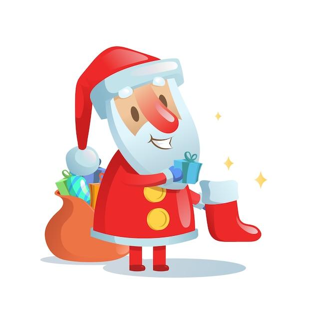 Père Noël Mettant Des Cadeaux Dans Des Bas De Noël Vecteur Premium