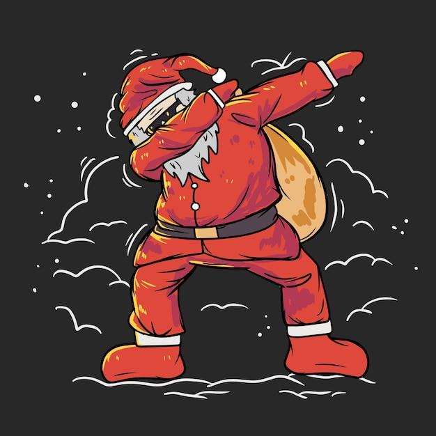Père Noël Mignon Faisant Une Illustration De Tamponnage Vecteur Premium