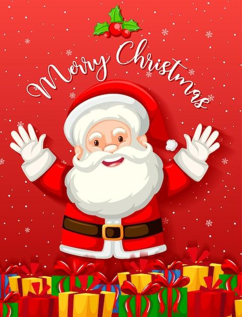 Père Noël Mignon Avec De Nombreux Cadeaux Ou Coffrets Cadeaux Vecteur gratuit