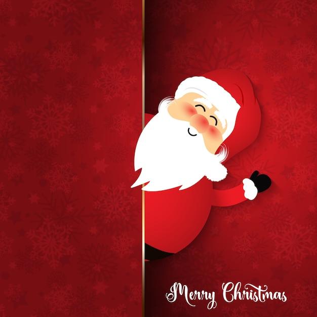 Père Noël mignon sur fond de flocon de neige Vecteur gratuit
