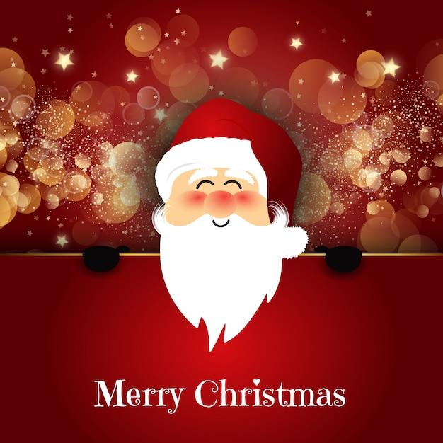 Père Noël mignon sur fond de lumières bokeh Vecteur gratuit