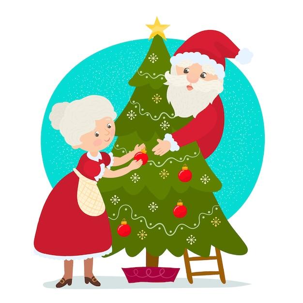 Père Noël Avec Mme Claus Vecteur Premium