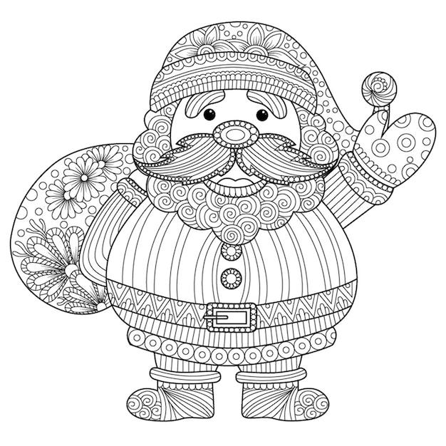 Père Noël Noir Et Blanc Télécharger Des Vecteurs Premium