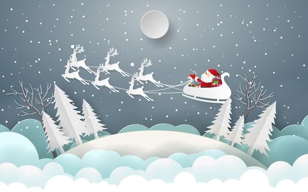 Le père noël offre aux enfants un cadeau joyeux noël et bonne année Vecteur Premium