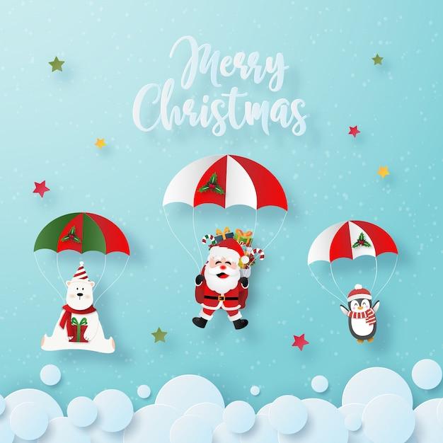 Père Noël Et Personnages De Noël Font Un Saut En Parachute Dans Le Ciel Vecteur Premium