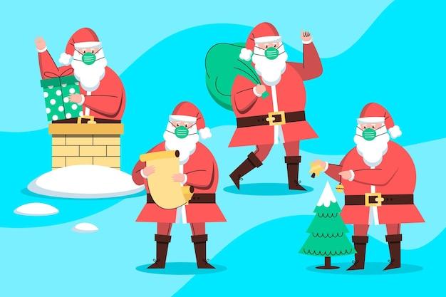 Père Noël Portant Un Masque Facial Vecteur gratuit