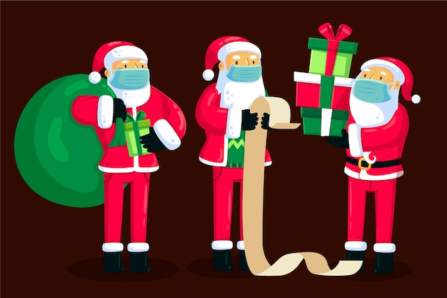 Père Noël Portant Un Masque Médical Vecteur gratuit