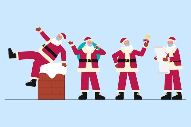 Père Noël Portant Un Pack De Masque Médical Vecteur gratuit