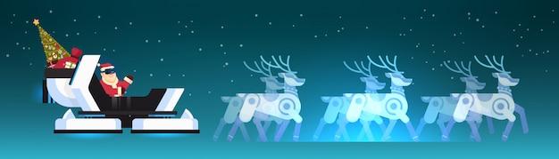 Père noël porter des lunettes numériques en réalité virtuelle robotique traîneau renne joyeux noël bonne année carte de voeux hiver vacances concept illustration vectorielle plane horizontale Vecteur Premium