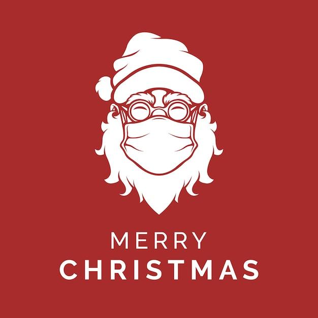 Père Noël Qui Porte Un Masque Pour Dire Joyeux Noël Vecteur Premium
