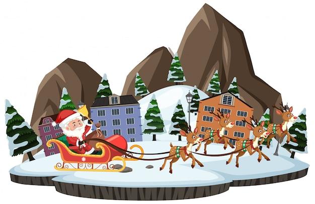 Père Noël Avec Raindeer Marchant à Travers La Ville Sur Fond Blanc Vecteur Premium