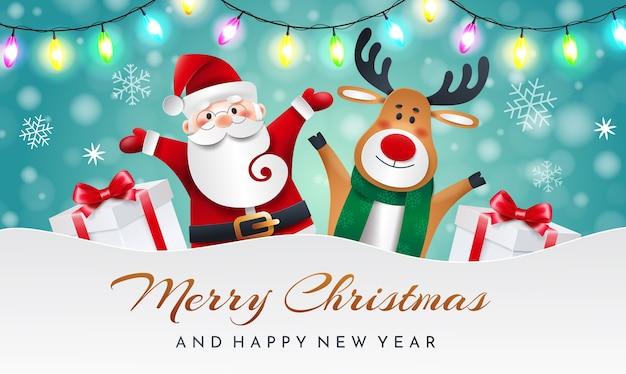 Père Noël Et Renne Sur Fond Bleu Avec Cadeaux Et Guirlande. Carte De Voeux De Noël. Vecteur Premium