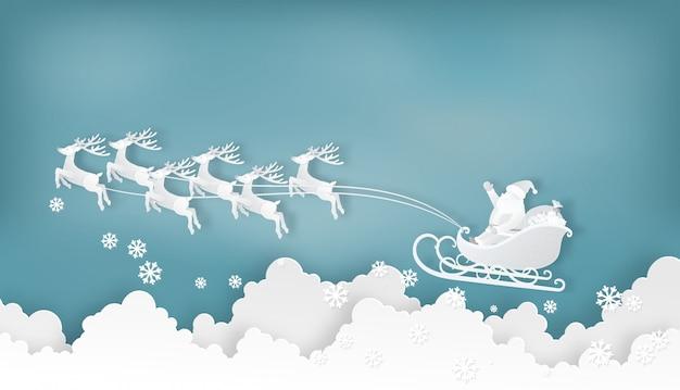 Père noël et rennes sur les nuages Vecteur Premium