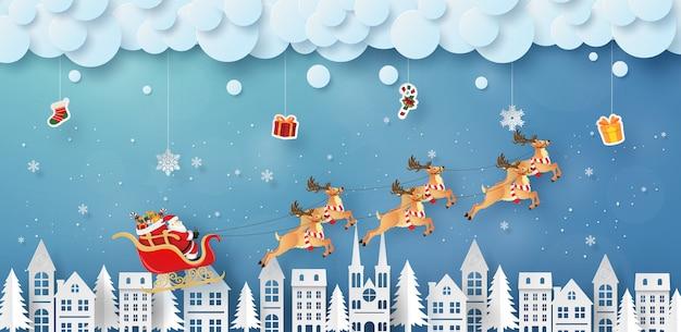 Père Noël Et Rennes Volant Dans Le Ciel Avec Des Cadeaux Suspendus Vecteur Premium