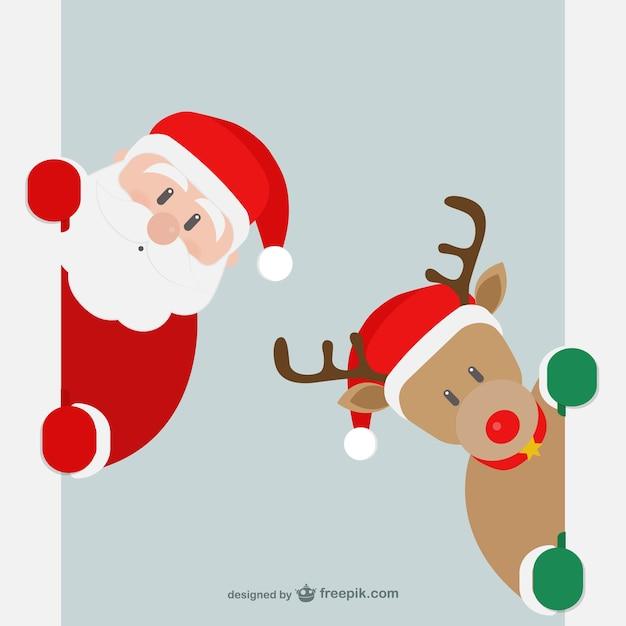 Le Père Noël Et Les Rennes Vecteur Premium