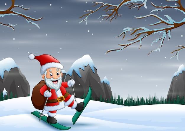 Père Noël En Ski Sur La Colline De Neige Avec Son Sac Vecteur Premium