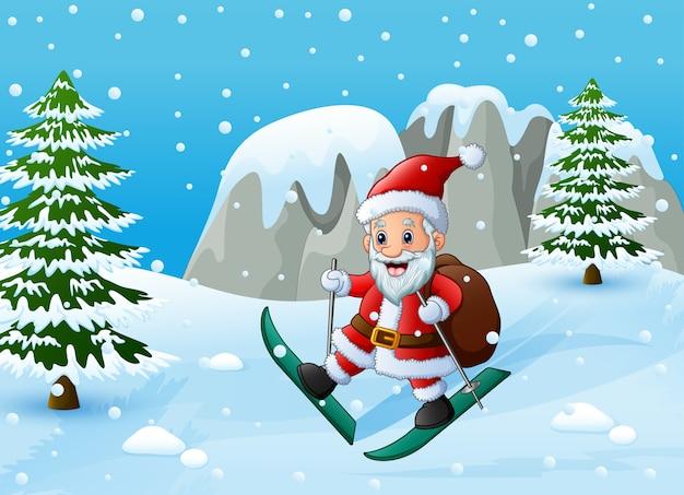 Image Pere Noel En Ski.Pere Noel Ski Dans La Colline De Neige Avec Sac De Cadeaux