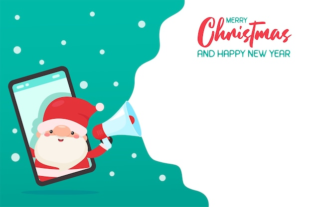 Père Noël Sur Le Téléphone Mobile Criant Des Publicités Avec Des Idées De Promotion De Noël Mégaphone Vecteur Premium