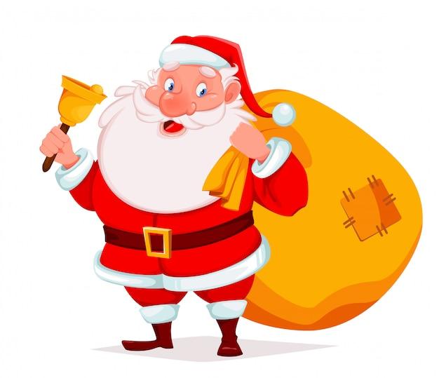 Père noël tenant la cloche et sac avec des cadeaux Vecteur Premium
