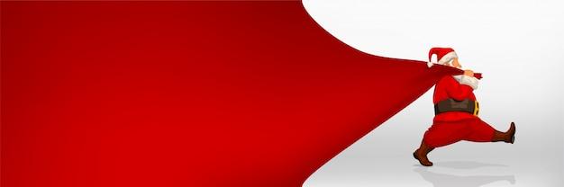 Père Noël Tenant Un Sac Large Vecteur Premium