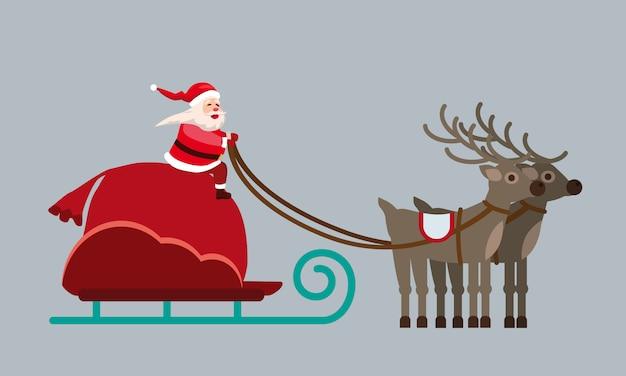 Père Noël Sur Un Traîneau Avec Des Cerfs Et Un énorme Sac De Cadeaux Vecteur Premium
