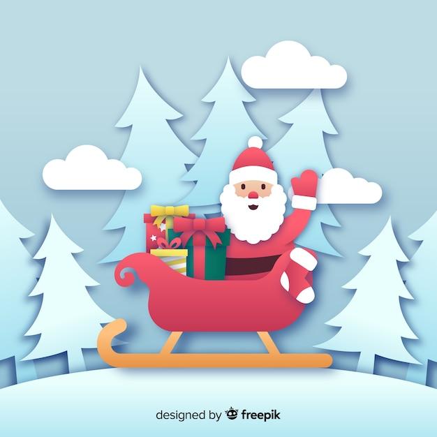 Père Noël En Traîneau En Papier Vecteur gratuit